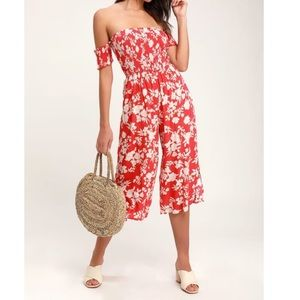 NWT Floral Cropped Jumpsuit